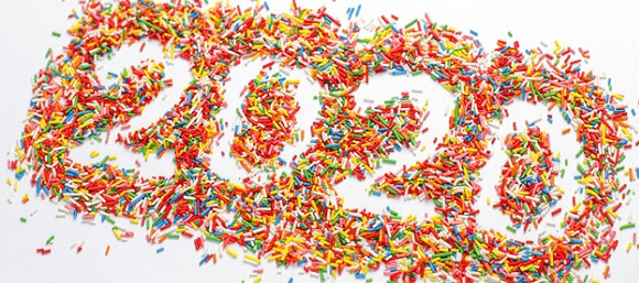Creative Happy New 2020 Year. Colorful number shape with bright